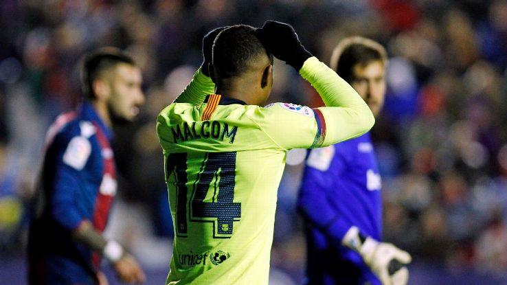 Malcom's struggles at Barcelona continued, as the Brazilian was a non-factor in Barca's Copa del Rey defeat to Levante.