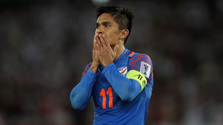Sunil Chhetri during the game against UAE