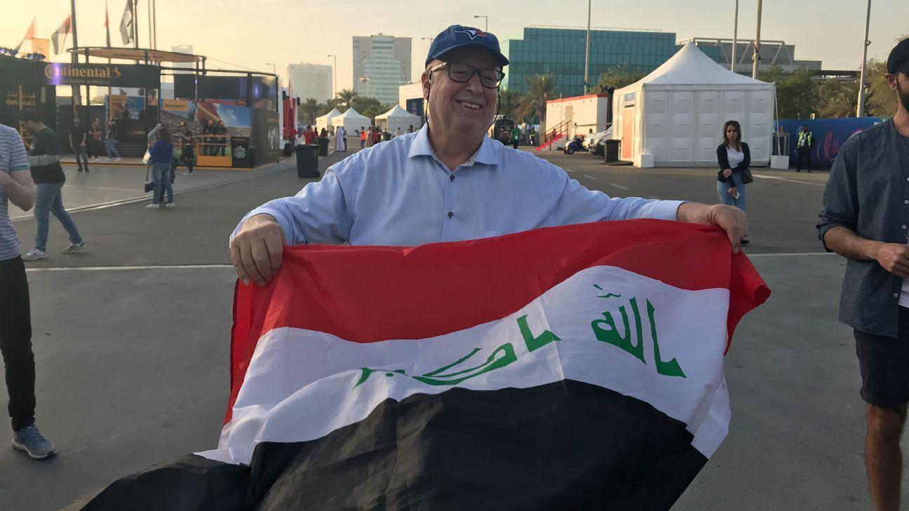 Yusuf before Iraq's game against Vietnam outside the Sheikh Zayed Stadium in Abu Dhabi.