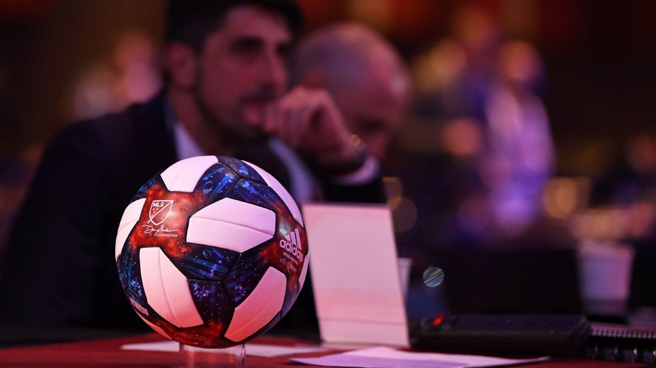 A MLS match ball sits in the foreground of draft HQ ahead of the 2019 SuperDraft.