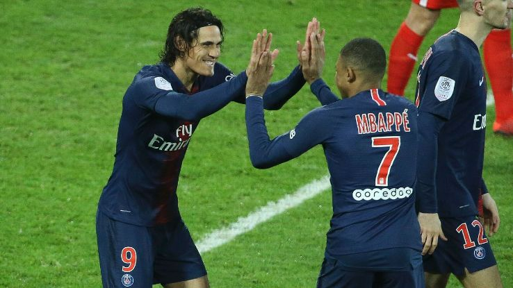Cavani, left, and Mbappe provided the spark yet again as PSG thrashed Amiens in Paris.