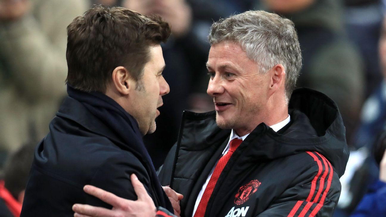 Mauricio Pochettino and Ole Gunnar Solskjaer shake hands before Tottenham's clash with Manchester United