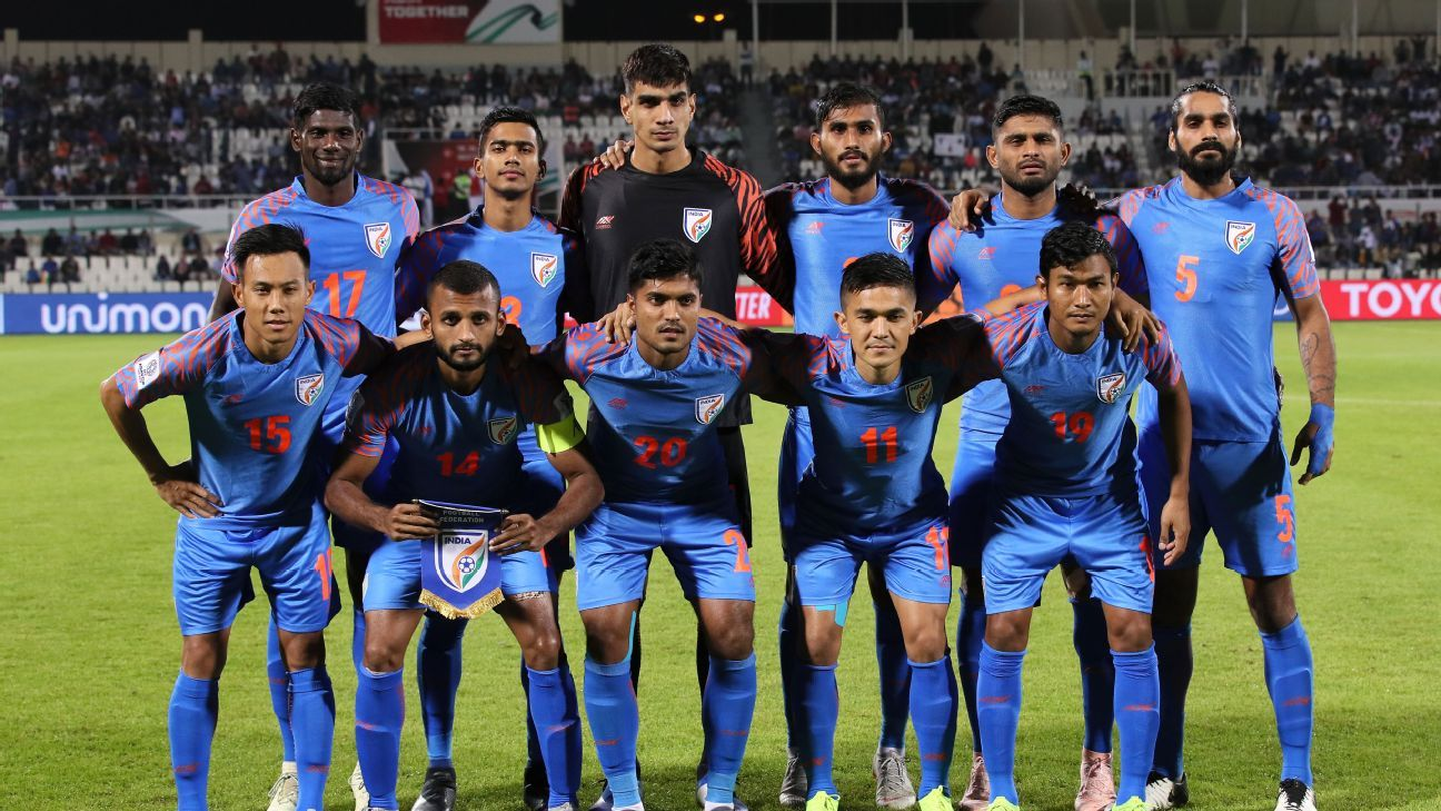 Indian team poses for a photo ahead of the kick-off against Bahrain.