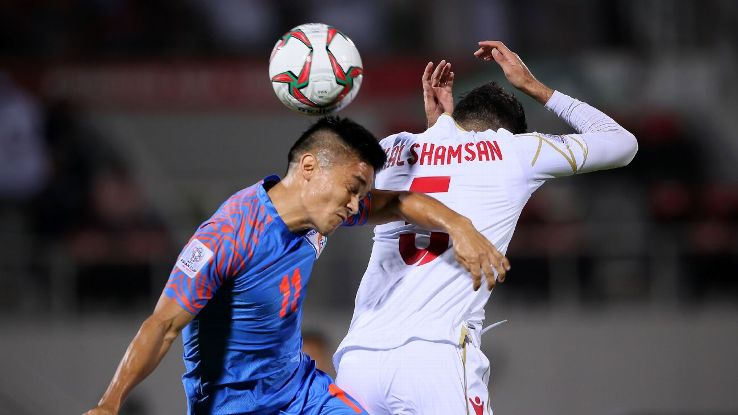Sunil Chhetri in action vs Bahrain