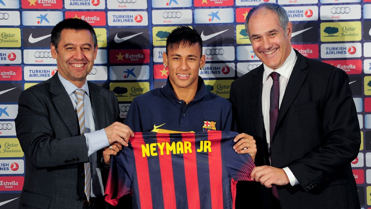 Neymar is presented after signing for Barcelona.