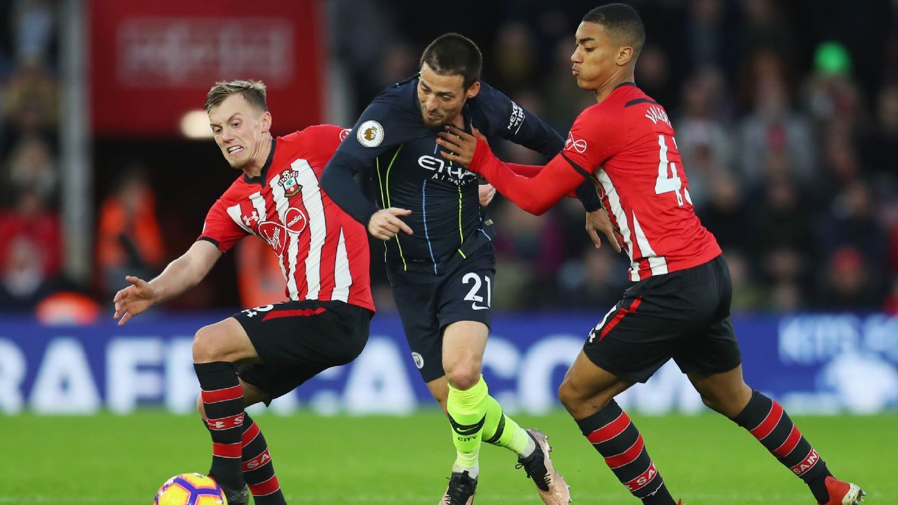 David Silva scored the opening goal in Manchester City's 3-1 win at Southampton