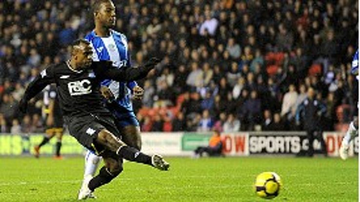 Brimingham CIty's Christian Benitez scores his sides second goal of the game
