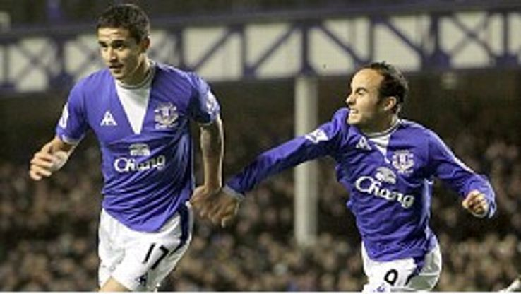 Tim Cahill and Landon Donovan during their time together at Everton