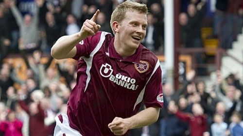 Andrew Driver celebrates giving Hearts the lead