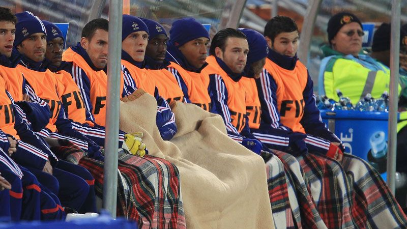 France players warm the bench