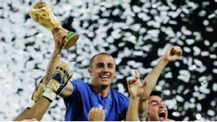 Fabio Cannavaro lifts the trophy for Italy in 2006