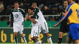 Josue of Wolfsburg celebrates his team's second goal