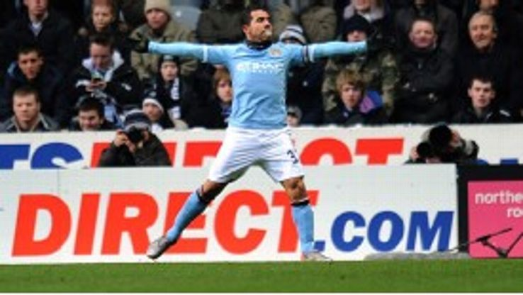 Carlos Tevez grabbed his 11th goal of the season with Man City's second against Newcastle