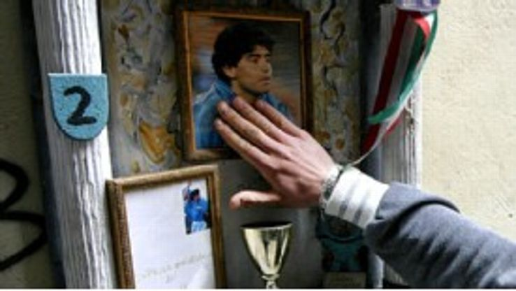 When Maradona was taken ill in 2004, shrines were constructed in Naples, including this one, which claimed to showcase a strand of his hair