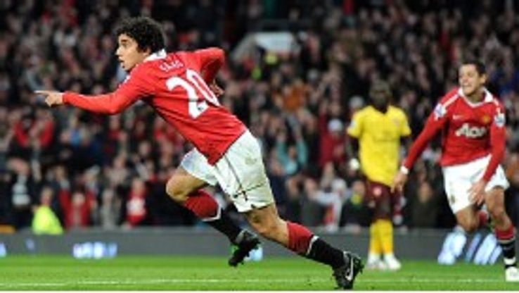 Fabio celebrates his opener for Manchester United.