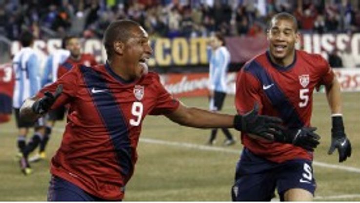 Juan Agudelo celebrates after levelling the scores against Argentina