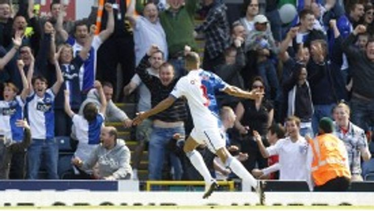 Martin Olsson celebrates his goal for Blackburn