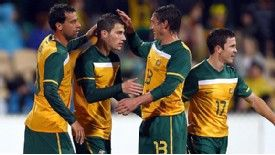 James Troisi is congratulated after scoring