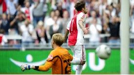 Ajax striker Miralem Sulejmani celebrates his goal in the 5-1 win against Heerenveen
