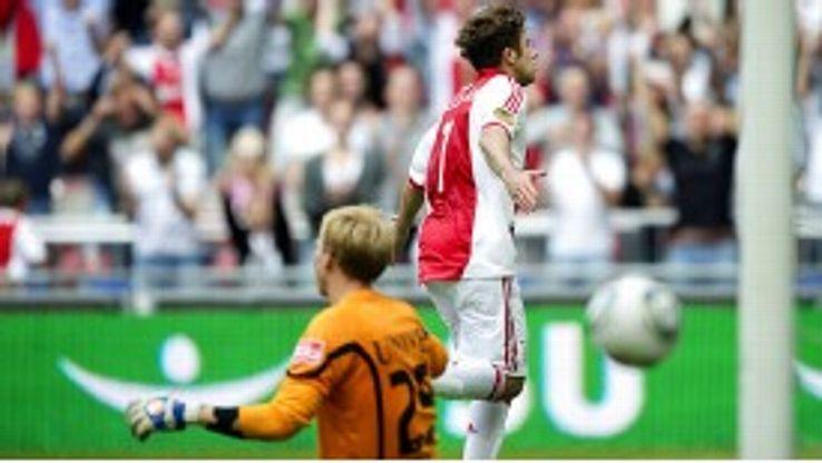 Ajax striker Miralem Sulejmani celebrates his goal in the 5-1 win against Heerenveen