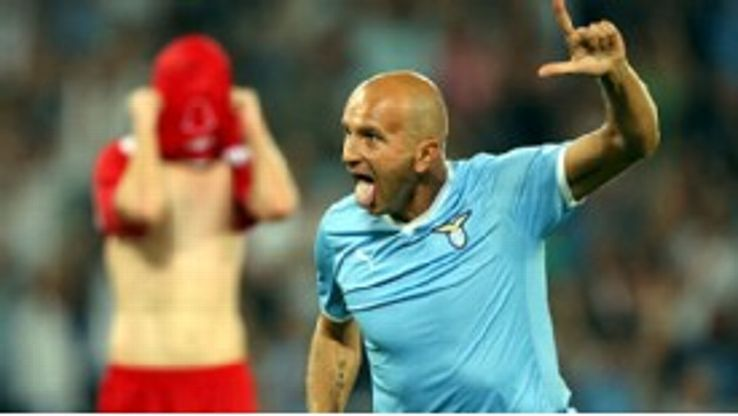 Tommaso Rocchi scored Lazio's fifth in the 6-0 rout of Rabotnicki Kometal