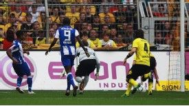 Raffael set Hertha Berlin on their way to a surprise victory at reigning champions Borussia Dortmund