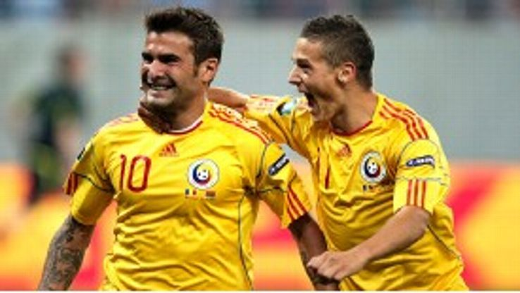 Adrian Mutu scores either side of half time for Romania