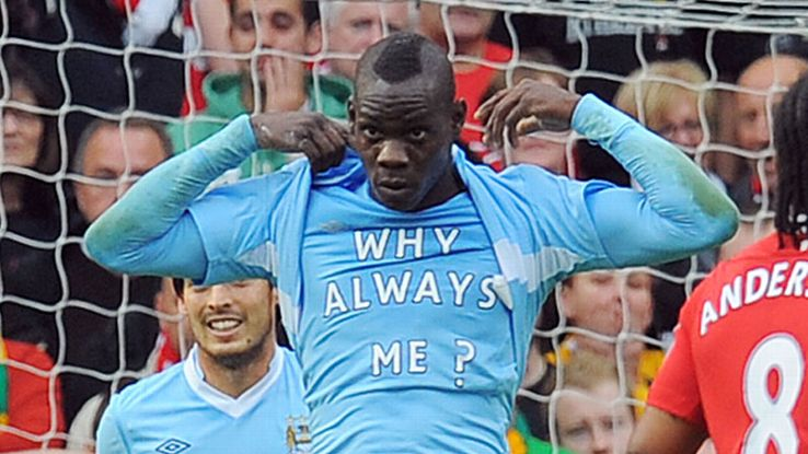 Mario Balotelli was booked after revealing this message at Old Trafford