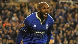 Birmingham striker Marlon King celebrates after converting a penalty to level the scores at 2-2