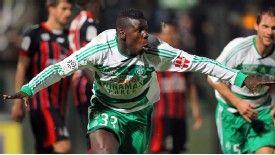 Kurt Zouma wrapped up St Etienne's 2-0 win over eight-man Nice