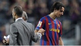 Pep Guardiola and Zlatan Ibrahimovic endured a frosty relationship at Barcelona
