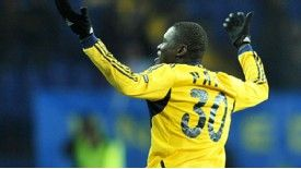 Papa Gueye celebrates his goal in Metalist Kharkiv's 4-1 thrashing of Austria Vienna