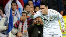 Real Madrid's forward Jose Callejon celebrates his goal