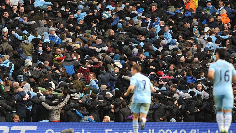 Man City's fans embark on the Poznan after seeing Nasri lash them in front
