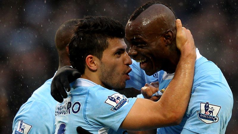 Sergio Aguero and Mario Balotelli rejoice and grabbing all three points