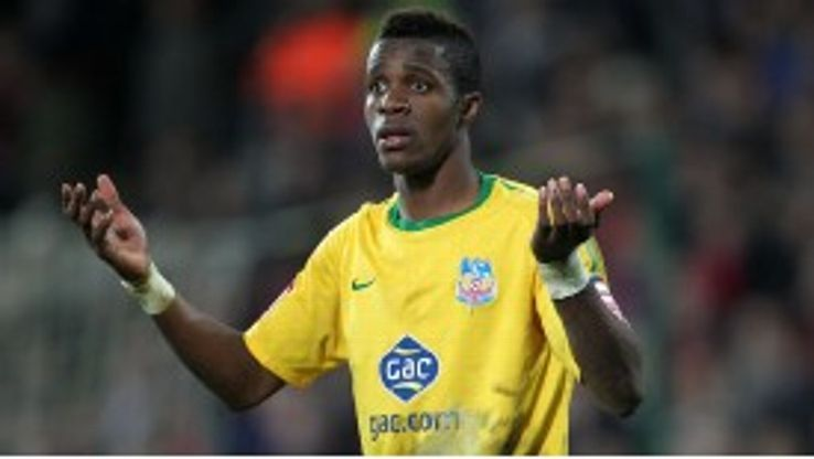 Crystal Palace's Wilfried Zaha reacts