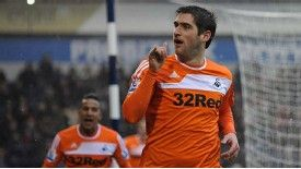 Danny Graham scores to put Swansea 2-1 ahead at West Bromwich Albion