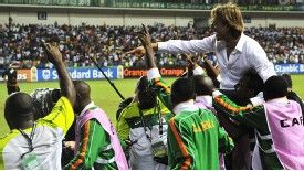 Zambia manager Herve Renard is held aloft