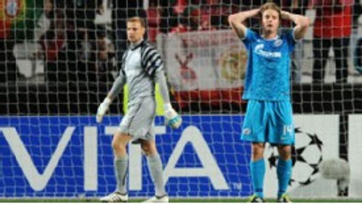 Zenit St Petersburg's Tomas Hubocan holds his head in disbelief.