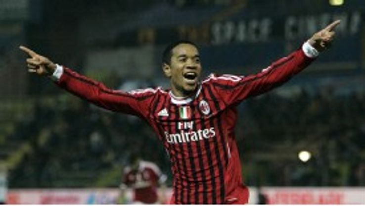 Urby Emanuelson celebrates after netting AC Milan's second goal in a 2-0 win