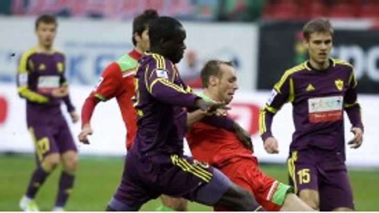 Christopher Samba in action during Sunday's game at Lokomotiv Moscow