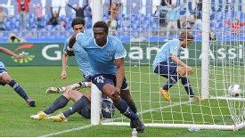 Mobido Diakite celebrates scoring the only goal of the game for Lazio against Cagliari