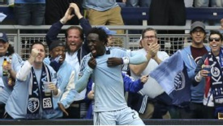 Kei Kamara celebrates after netting the only goal of the game against LA Galaxy