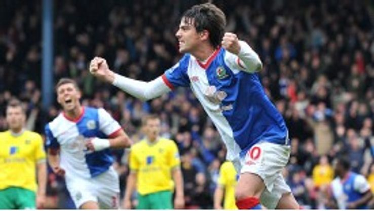 Blackburn's Mauro Formica celebrates his strike against Norwich