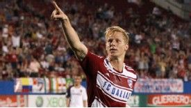 Brek Shea celebrates his spot-kick strike