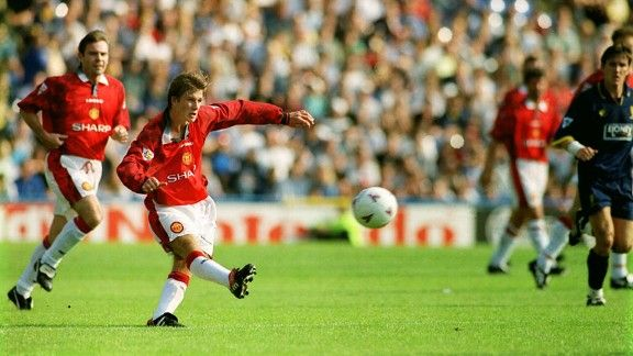 Manchester United's David Beckham scores the goal that defined his career against Wimbledon on the opening day of the 1996-97 season.