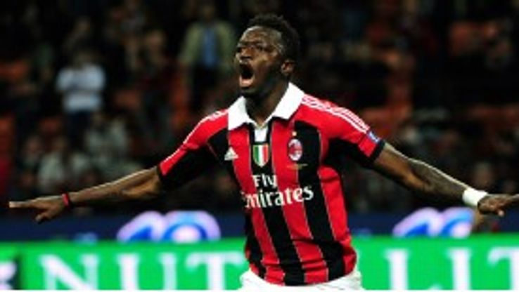 Sulley Muntari fired AC Milan in front against Atalanta