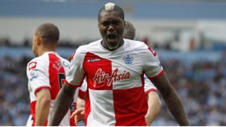 Djibril Cisse drives home to score an equaliser for Queens Park Rangers