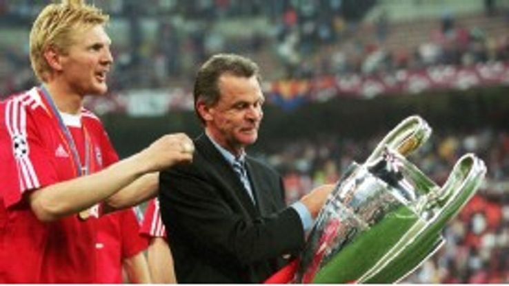 Ottmar Hitzfeld celebrates his Champions League win with Bayern in 2001