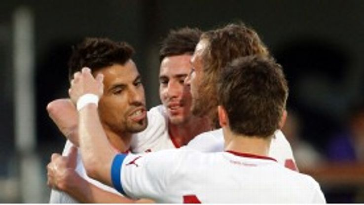 Milan Baros celebrates opening the scoring as Czech Republic beat Israel 2-1